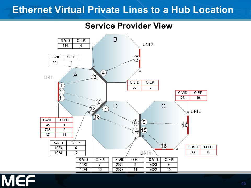45 Ethernet Virtual Private Lines to a Hub Location A DC B UNI 1 UNI 2 UNI 3 1 2 5 6 8 9 10 11 12 13 15 16 UNI 4 C-VIDO EP 451 7652 3711 S-VIDO EP 114