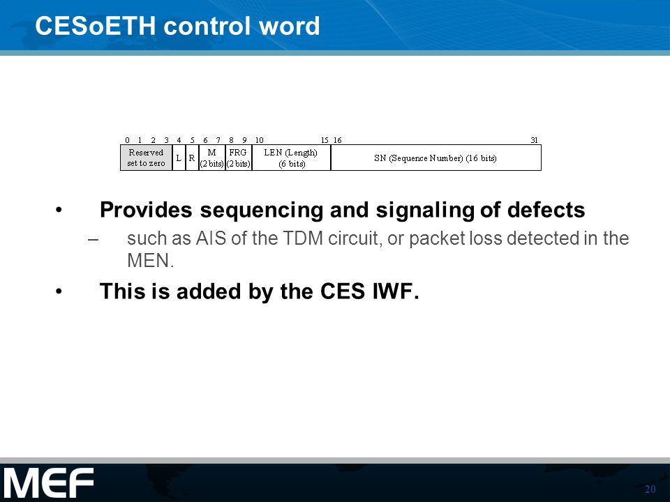 20 CESoETH control word Provides sequencing and signaling of defects –such as AIS of the TDM circuit, or packet loss detected in the MEN.
