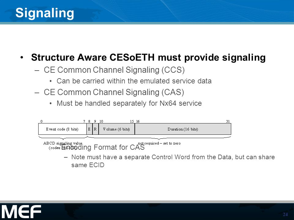 24 Signaling Structure Aware CESoETH must provide signaling –CE Common Channel Signaling (CCS) Can be carried within the emulated service data –CE Common Channel Signaling (CAS) Must be handled separately for Nx64 service - Encoding Format for CAS –Note must have a separate Control Word from the Data, but can share same ECID