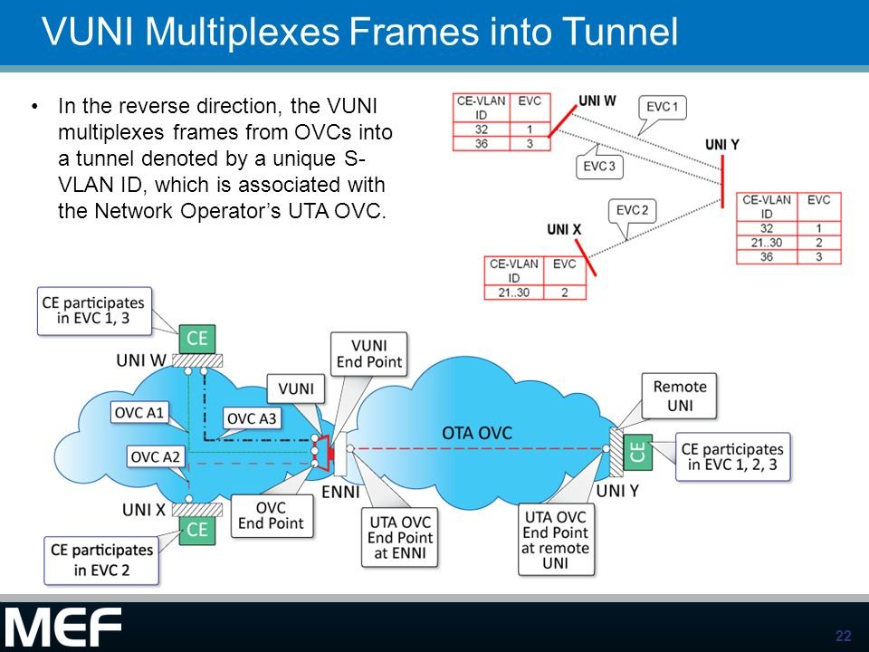 22 VUNI Multiplexes Frames into Tunnel In the reverse direction, the VUNI multiplexes frames from OVCs into a tunnel denoted by a unique S- VLAN ID, w