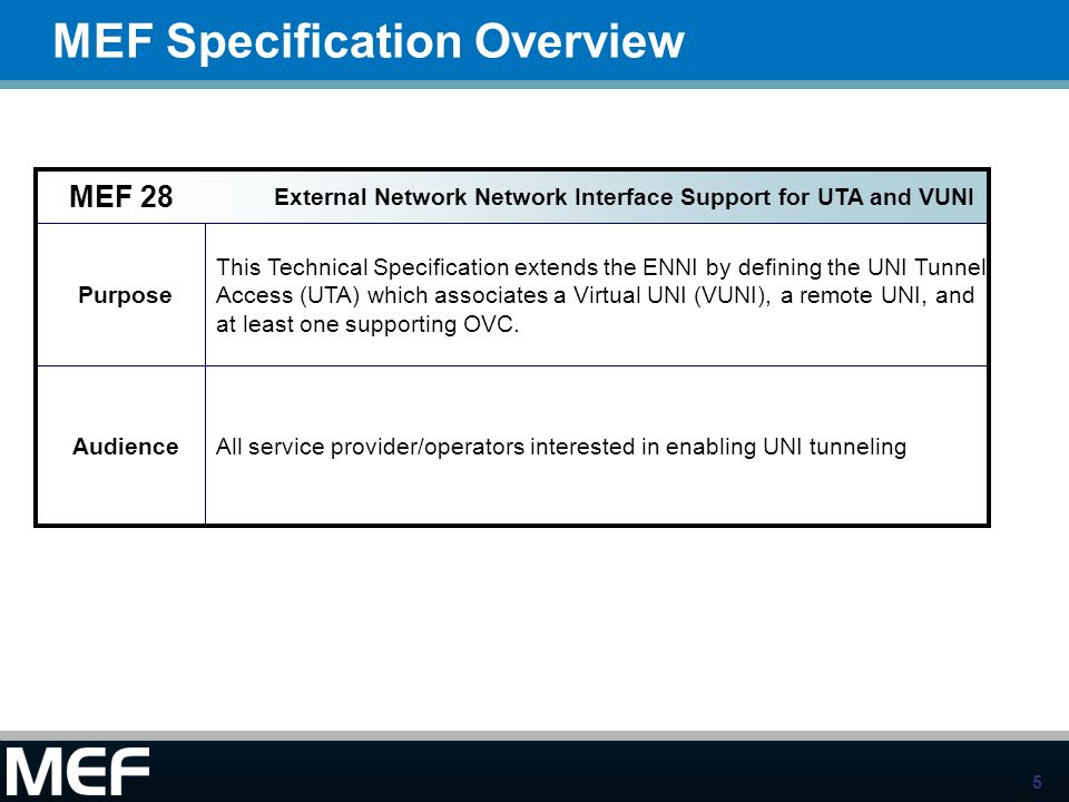 5 MEF Specification Overview Standardized Services Purpose This Technical Specification extends the ENNI by defining the UNI Tunnel Access (UTA) which