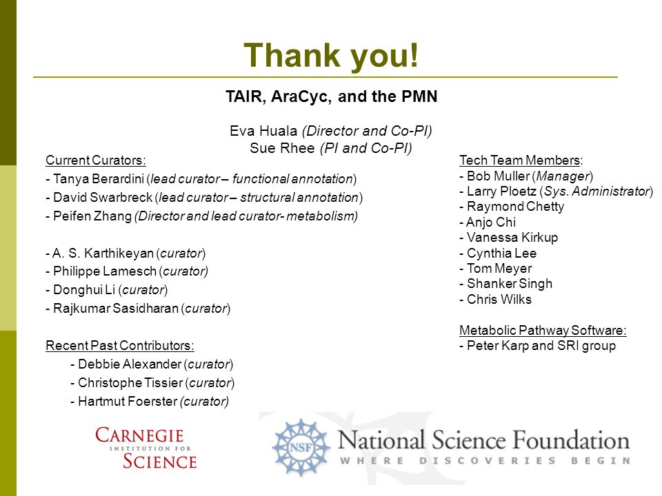 Thank you! TAIR, AraCyc, and the PMN Current Curators: - Tanya Berardini (lead curator – functional annotation) - David Swarbreck (lead curator – stru