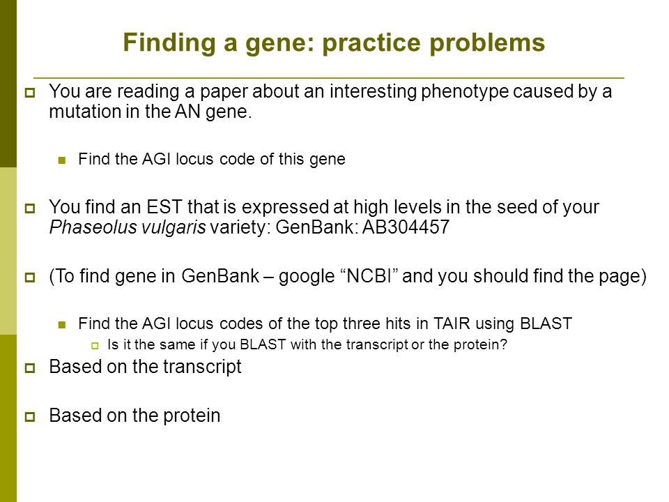 Finding a gene: practice problems You are reading a paper about an interesting phenotype caused by a mutation in the AN gene.