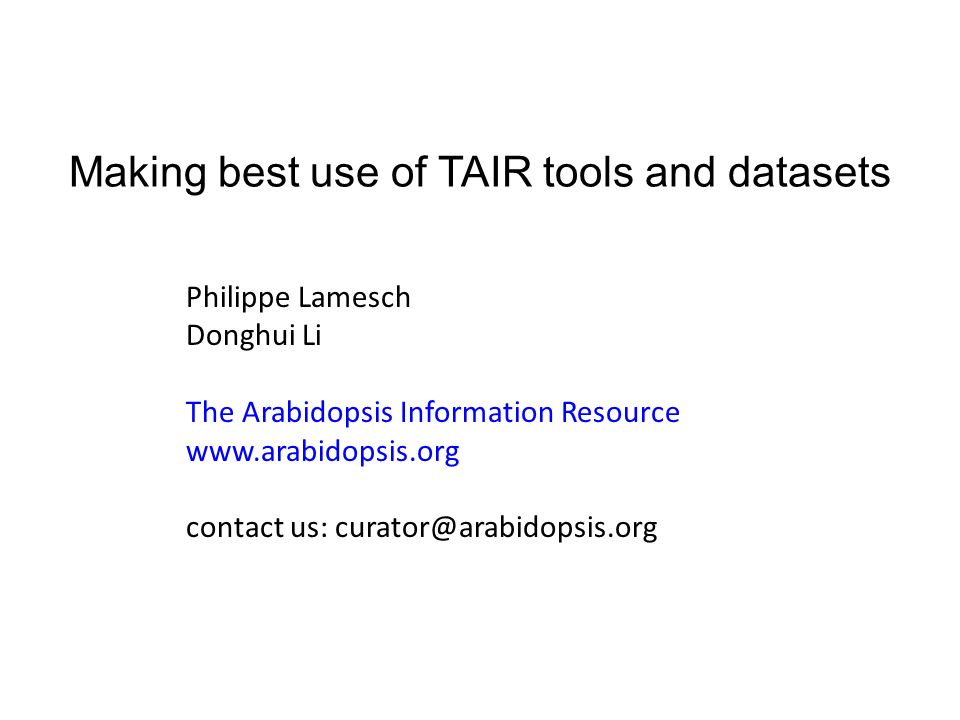 Making best use of TAIR tools and datasets Philippe Lamesch Donghui Li The Arabidopsis Information Resource www.arabidopsis.org contact us: curator@arabidopsis.org