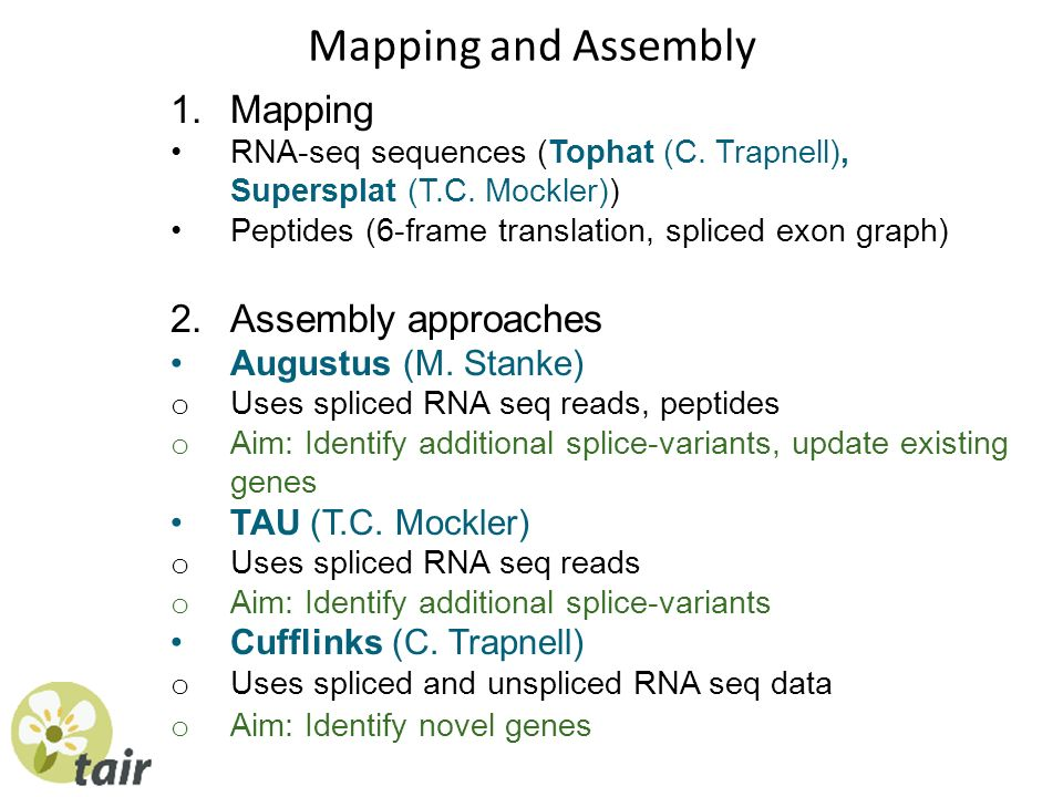 Mapping and Assembly 1.Mapping RNA-seq sequences (Tophat (C. Trapnell), Supersplat (T.C. Mockler)) Peptides (6-frame translation, spliced exon graph)