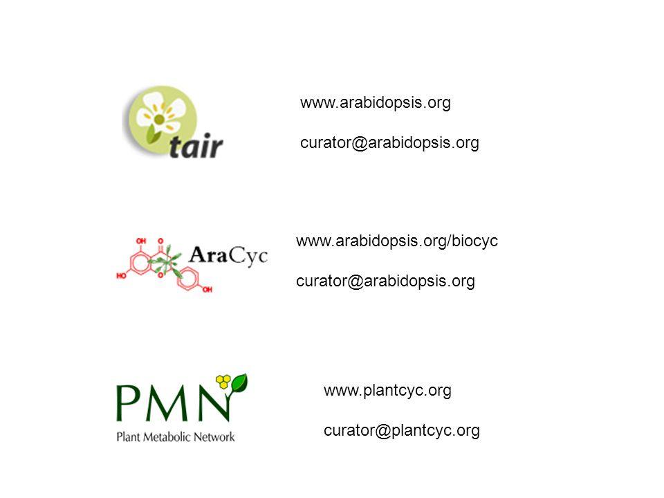 www.arabidopsis.org curator@arabidopsis.org www.arabidopsis.org/biocyc curator@arabidopsis.org www.plantcyc.org curator@plantcyc.org