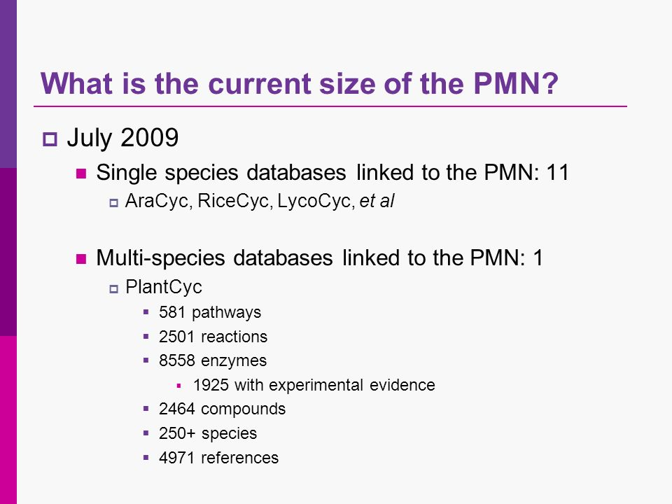 What is the current size of the PMN? July 2009 Single species databases linked to the PMN: 11 AraCyc, RiceCyc, LycoCyc, et al Multi-species databases