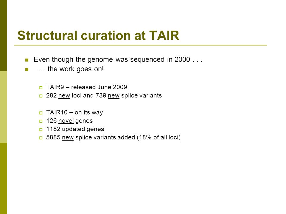Structural curation at TAIR Even though the genome was sequenced in 2000......