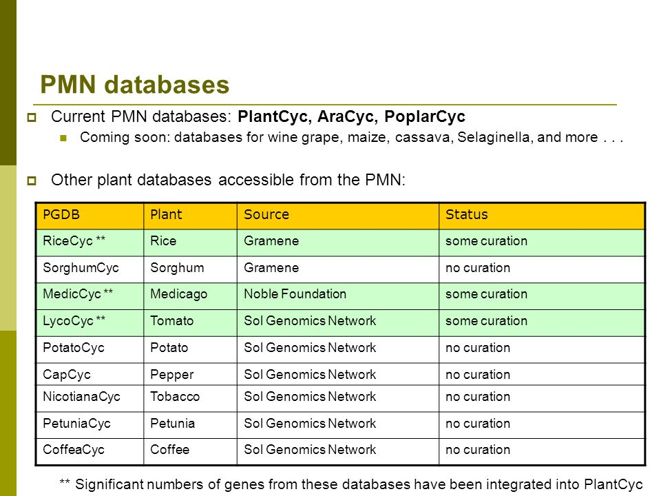PMN databases Current PMN databases: PlantCyc, AraCyc, PoplarCyc Coming soon: databases for wine grape, maize, cassava, Selaginella, and more...
