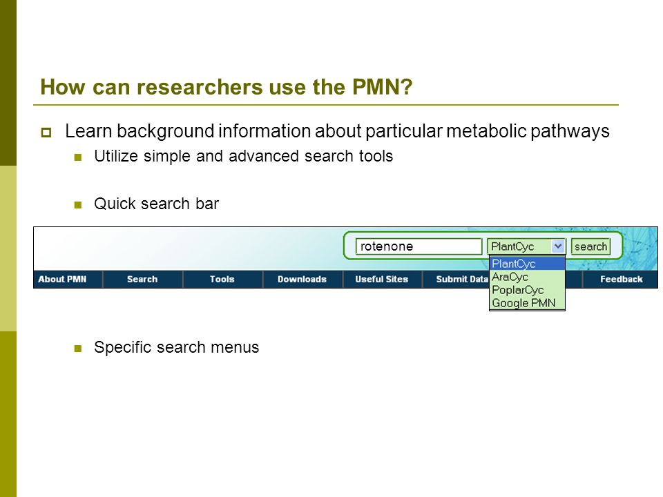 How can researchers use the PMN? Learn background information about particular metabolic pathways Utilize simple and advanced search tools Quick searc