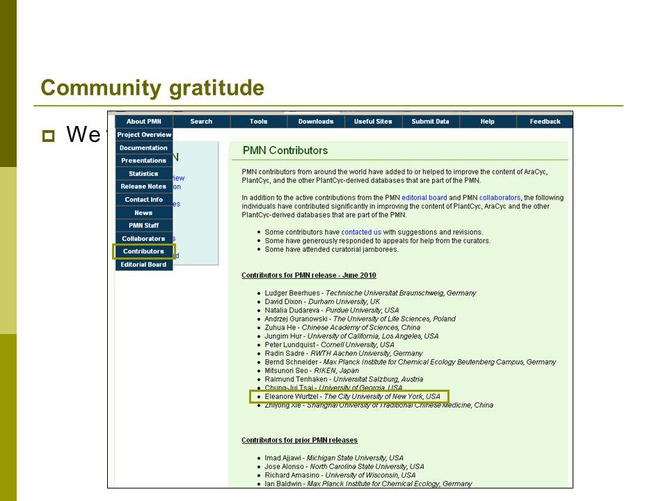 Community gratitude We thank you publicly!