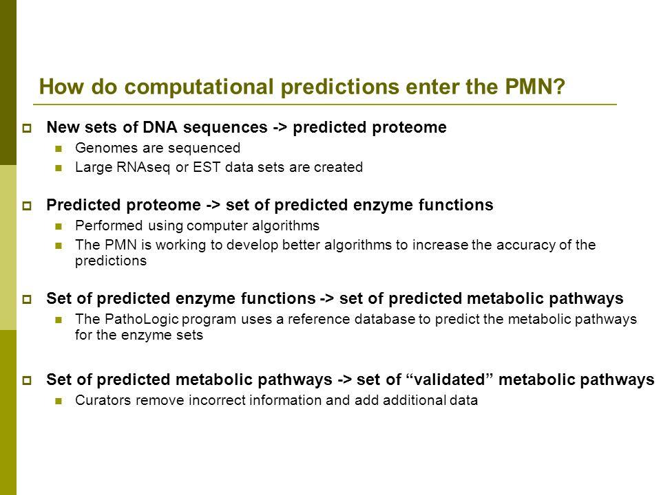 How do computational predictions enter the PMN.