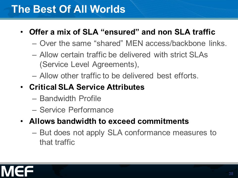 38 The Best Of All Worlds Offer a mix of SLA ensured and non SLA traffic –Over the same shared MEN access/backbone links. –Allow certain traffic be de