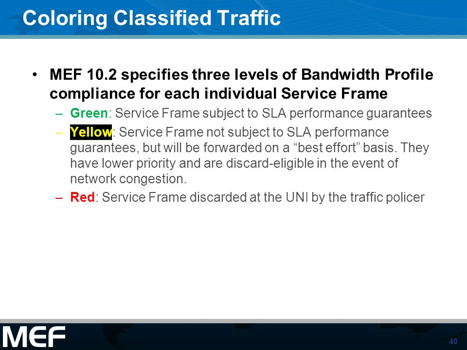 40 Coloring Classified Traffic MEF 10.2 specifies three levels of Bandwidth Profile compliance for each individual Service Frame –Green: Service Frame