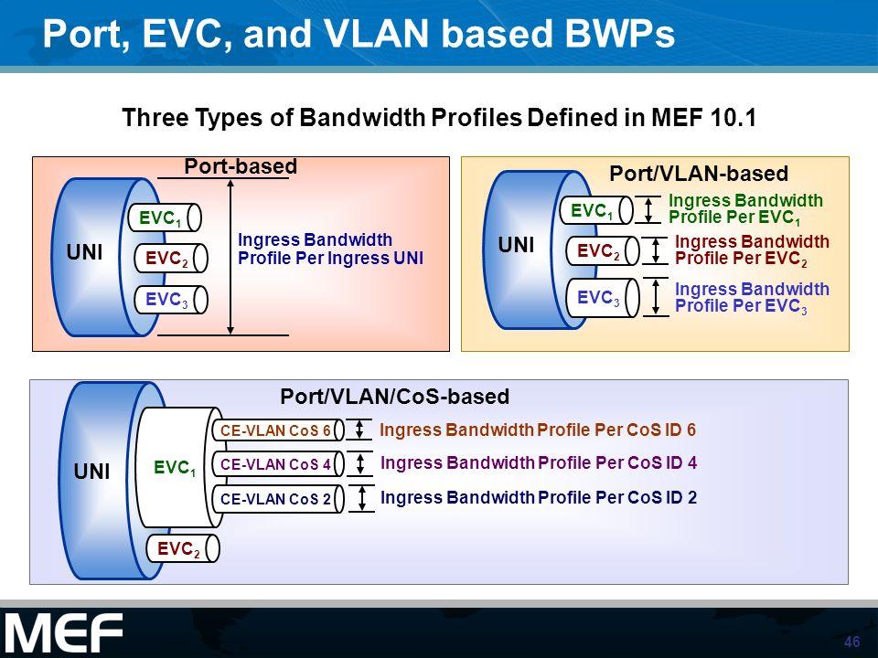 46 UNI EVC 1 EVC 2 EVC 3 Ingress Bandwidth Profile Per Ingress UNI UNI EVC 1 EVC 2 EVC 3 Ingress Bandwidth Profile Per EVC 1 Ingress Bandwidth Profile