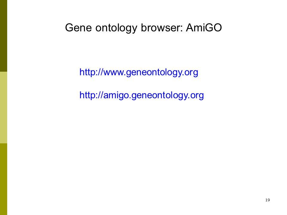 19 Gene ontology browser: AmiGO http://www.geneontology.org http://amigo.geneontology.org
