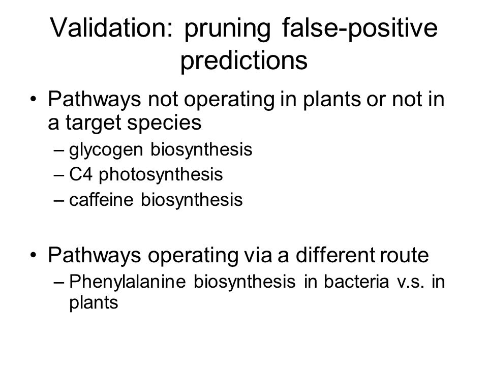 Validation: pruning false-positive predictions Pathways not operating in plants or not in a target species –glycogen biosynthesis –C4 photosynthesis –caffeine biosynthesis Pathways operating via a different route –Phenylalanine biosynthesis in bacteria v.s.