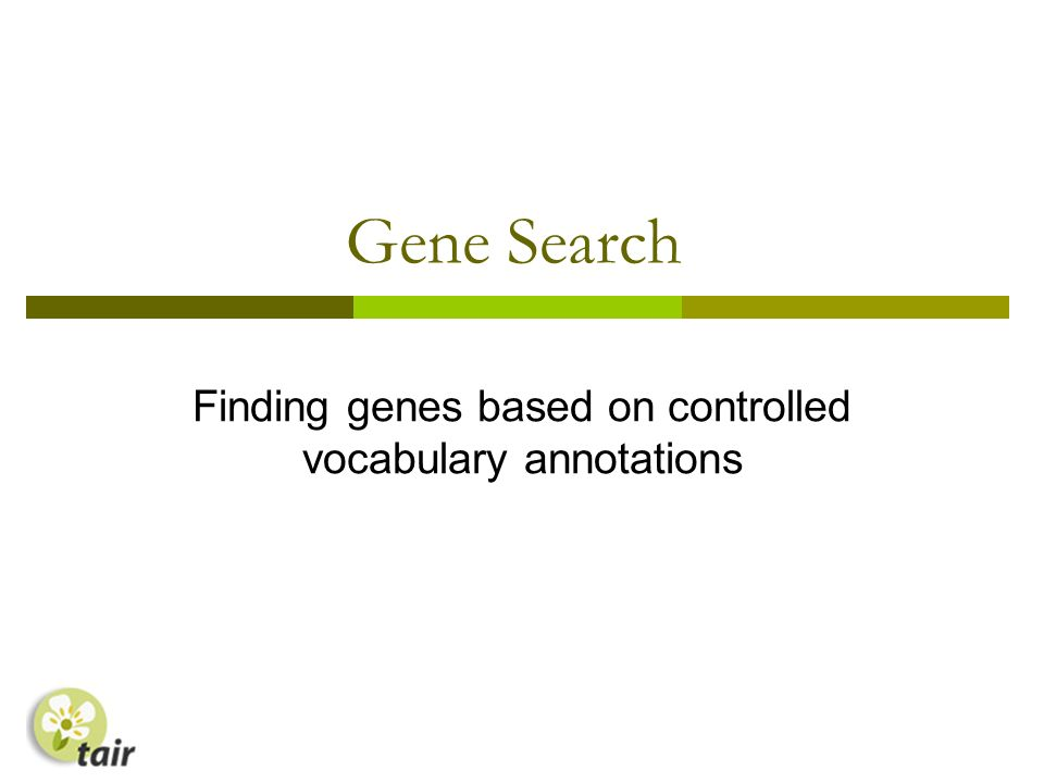 Gene Search Finding genes based on controlled vocabulary annotations