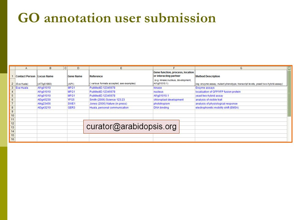 GO annotation user submission