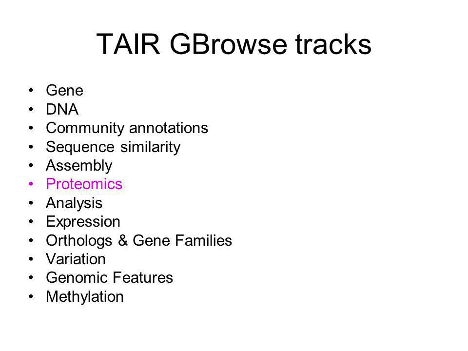 TAIR GBrowse tracks Gene DNA Community annotations Sequence similarity Assembly Proteomics Analysis Expression Orthologs & Gene Families Variation Genomic Features Methylation