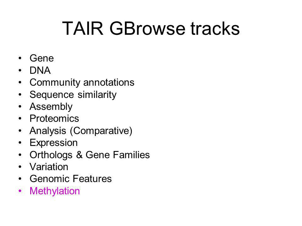 TAIR GBrowse tracks Gene DNA Community annotations Sequence similarity Assembly Proteomics Analysis (Comparative) Expression Orthologs & Gene Families Variation Genomic Features Methylation
