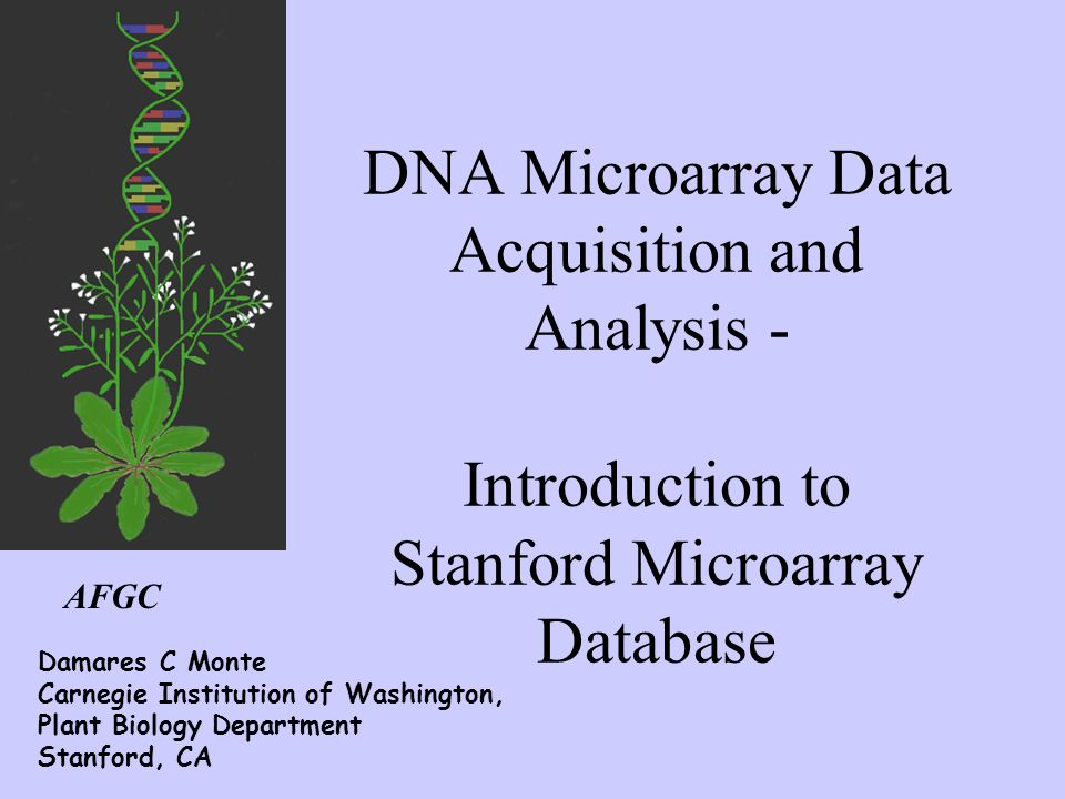 AFGC DNA Microarray Data Acquisition and Analysis - Introduction to Stanford Microarray Database Damares C Monte Carnegie Institution of Washington, P
