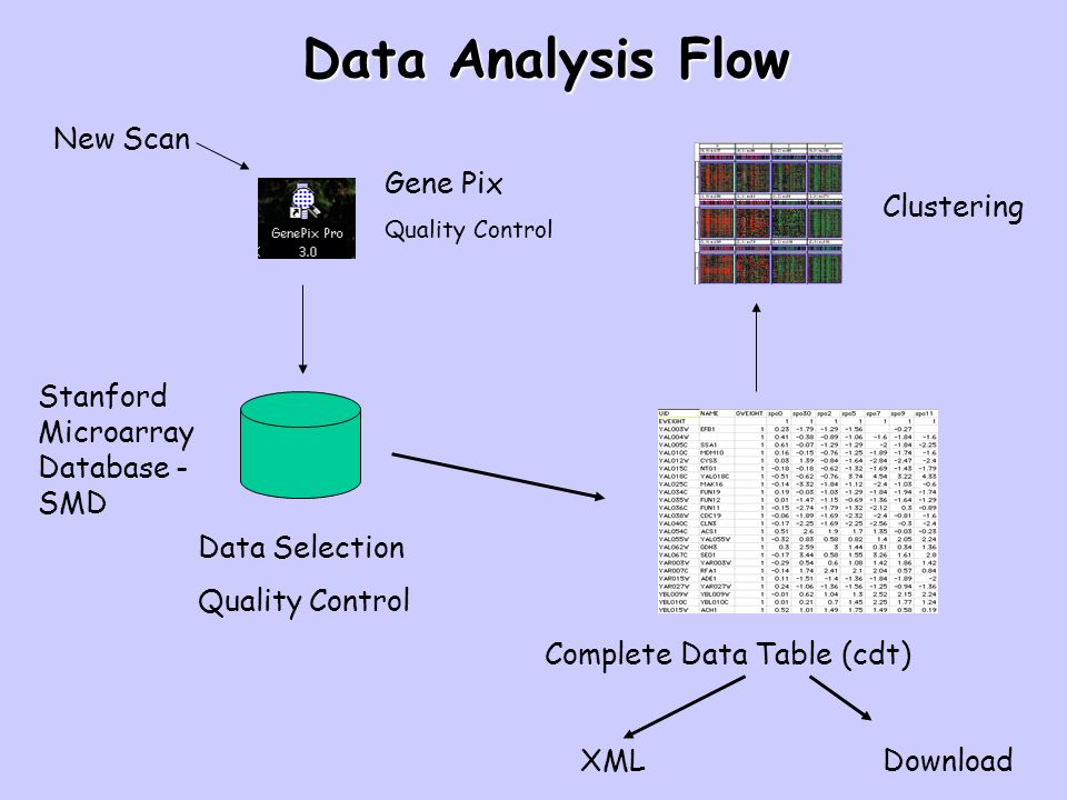 Data Analysis Flow New Scan Gene Pix Quality Control Stanford Microarray Database - SMD Data Selection Quality Control Complete Data Table (cdt) Clust