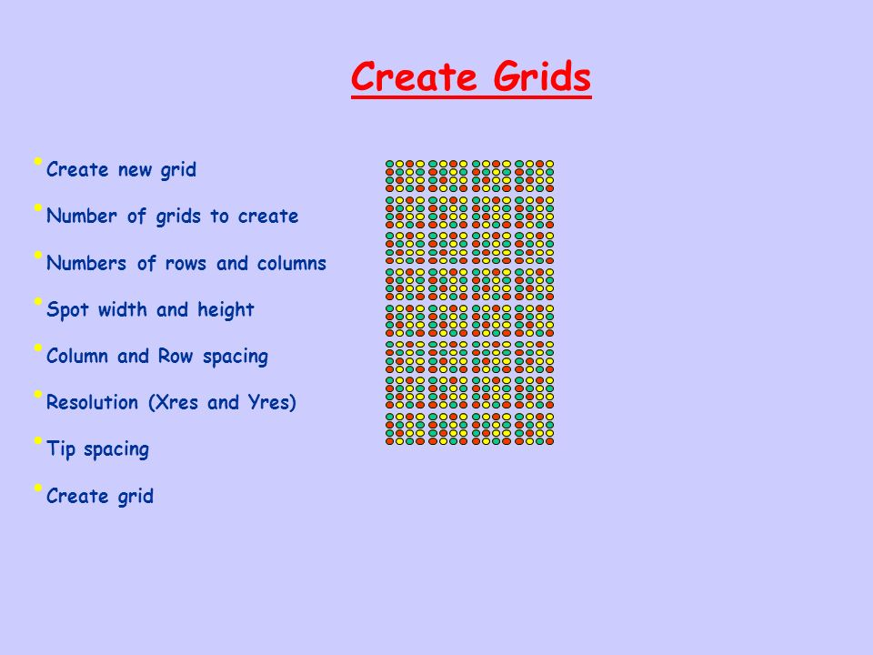 Create Grids Create new grid Number of grids to create Numbers of rows and columns Spot width and height Column and Row spacing Resolution (Xres and Y