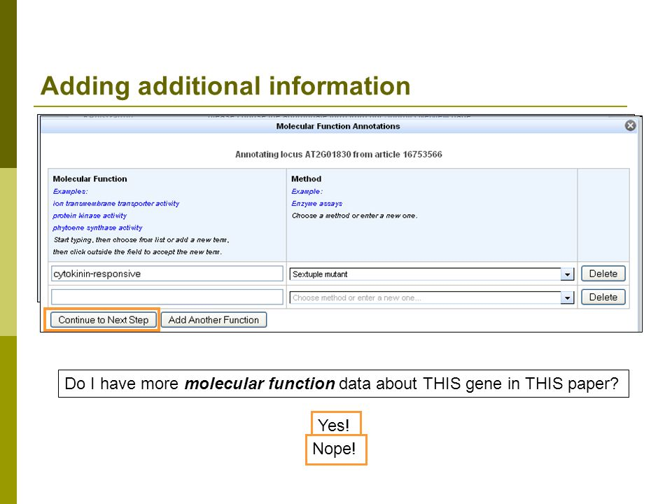 Adding additional information Do I have more molecular function data about THIS gene in THIS paper.