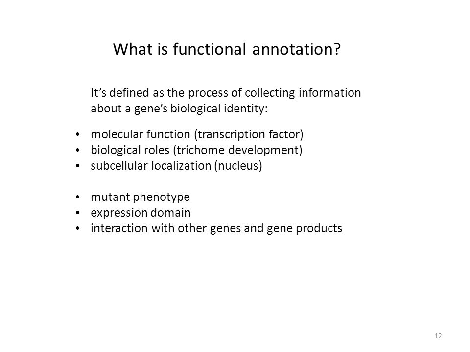 12 Its defined as the process of collecting information about a genes biological identity: molecular function (transcription factor) biological roles (trichome development) subcellular localization (nucleus) mutant phenotype expression domain interaction with other genes and gene products What is functional annotation