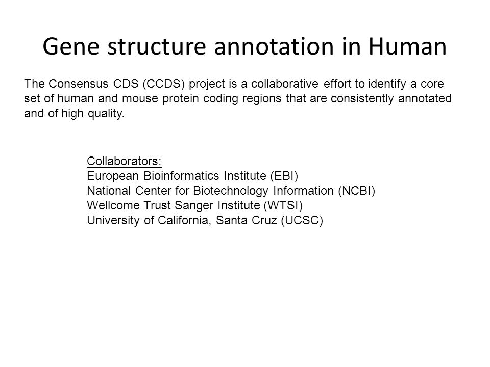 Gene structure annotation in Human The Consensus CDS (CCDS) project is a collaborative effort to identify a core set of human and mouse protein coding regions that are consistently annotated and of high quality.