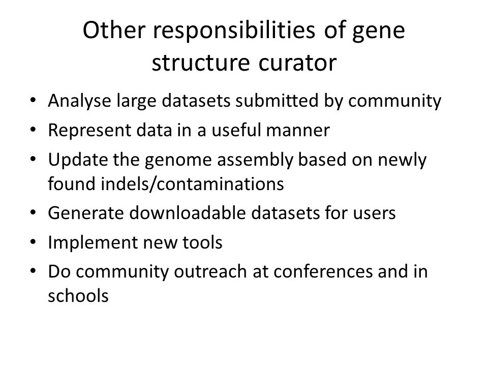 Other responsibilities of gene structure curator Analyse large datasets submitted by community Represent data in a useful manner Update the genome ass