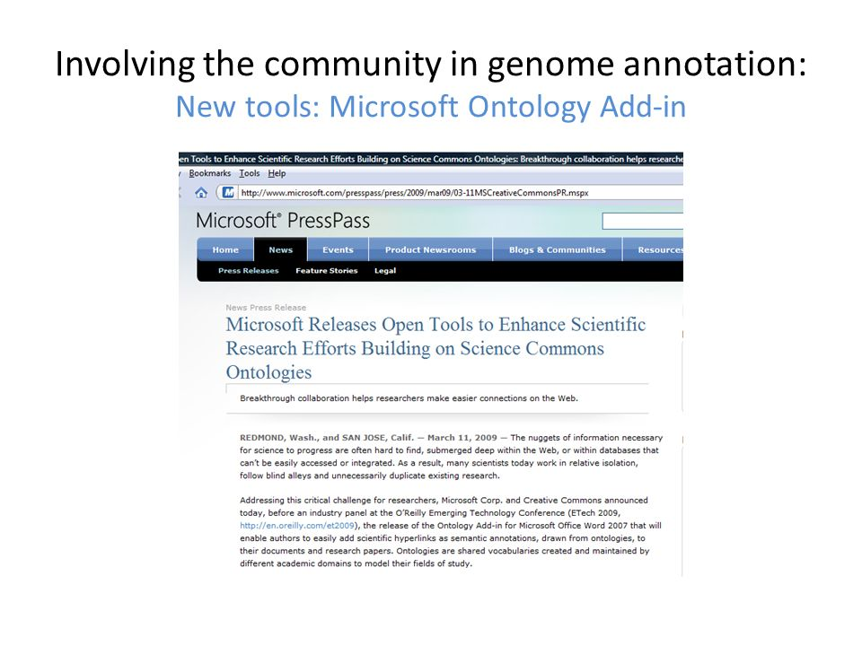 Involving the community in genome annotation: New tools: Microsoft Ontology Add-in