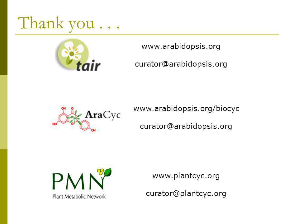 Thank you... www.arabidopsis.org curator@arabidopsis.org www.arabidopsis.org/biocyc curator@arabidopsis.org www.plantcyc.org curator@plantcyc.org