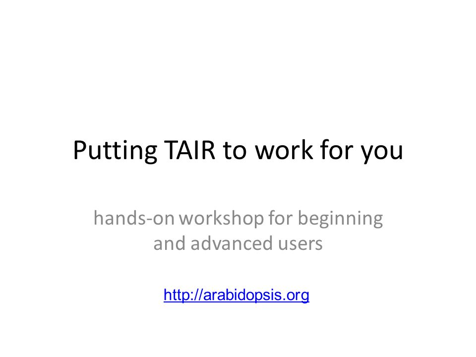 Putting TAIR to work for you hands-on workshop for beginning and advanced users http://arabidopsis.org
