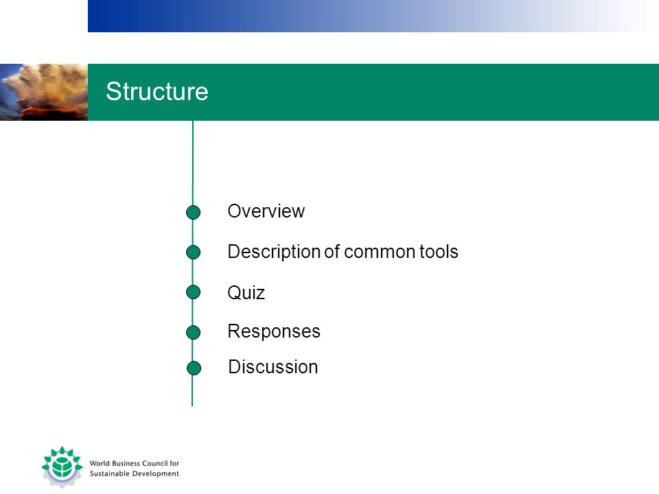 Description of common tools Quiz Responses Overview Discussion Structure