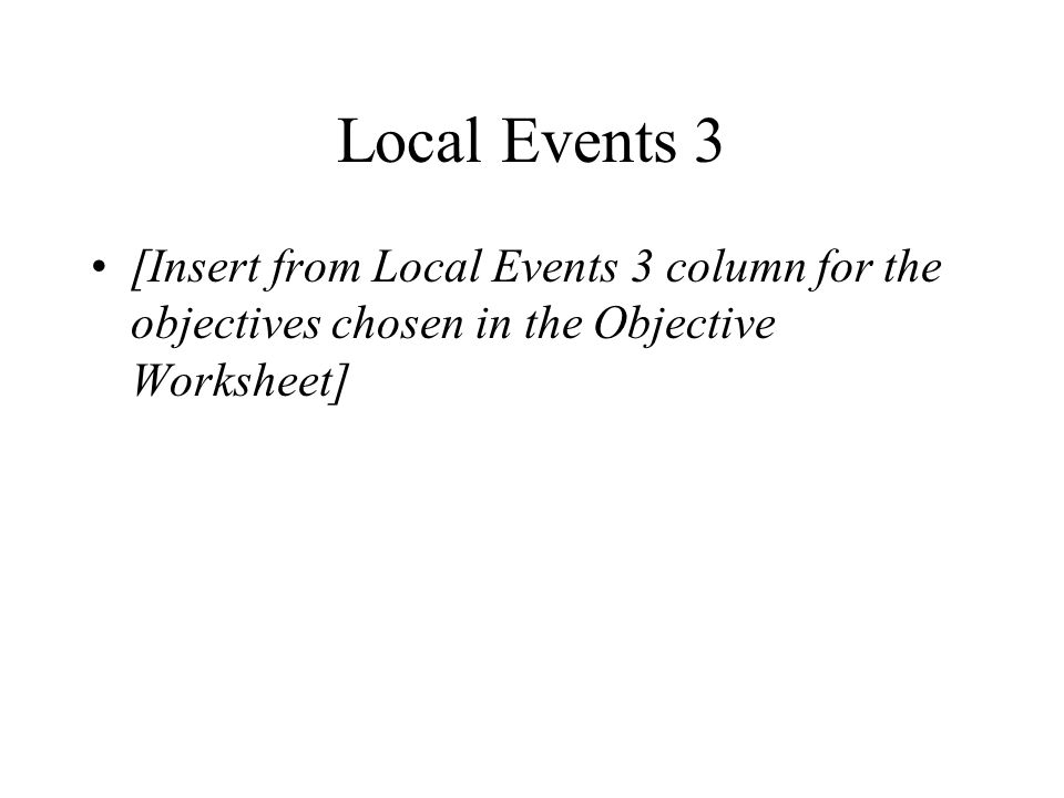 Local Events 3 [Insert from Local Events 3 column for the objectives chosen in the Objective Worksheet]