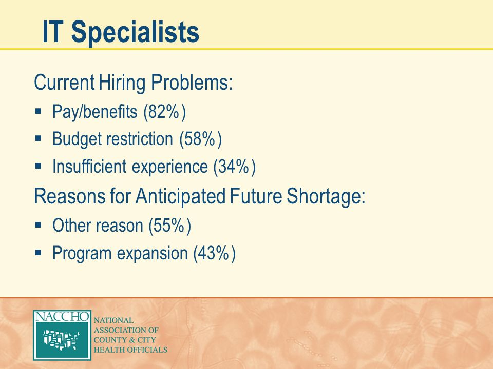 IT Specialists Current Hiring Problems: Pay/benefits (82%) Budget restriction (58%) Insufficient experience (34%) Reasons for Anticipated Future Short