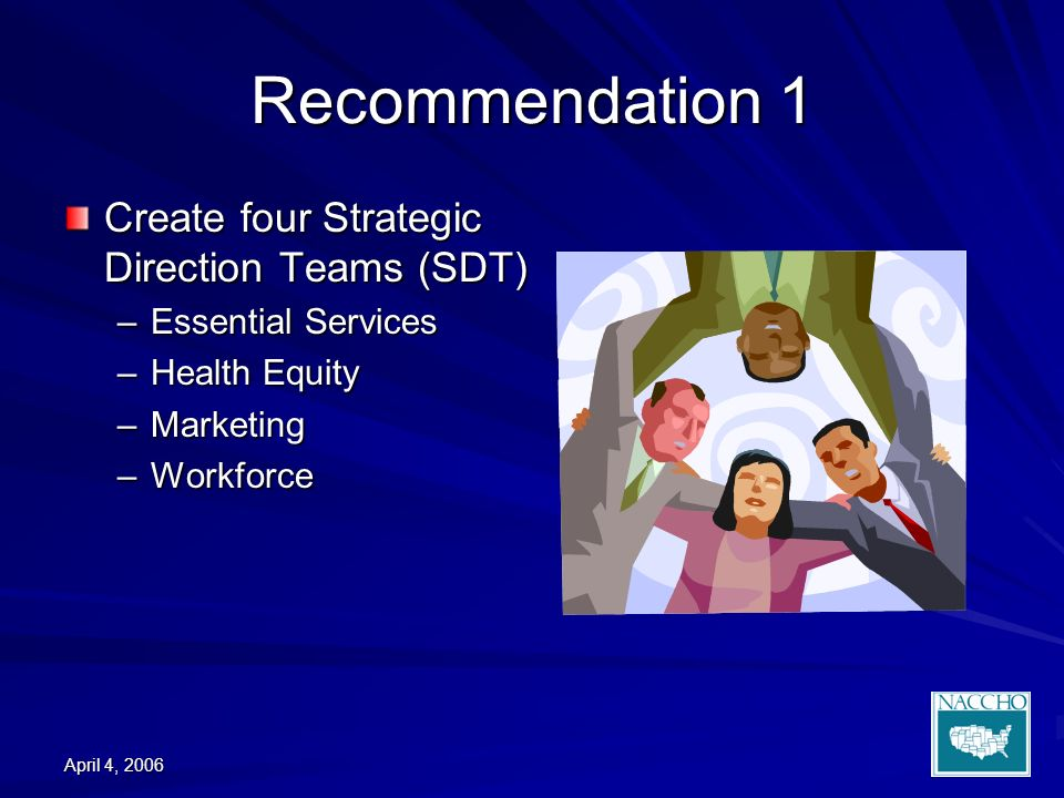 April 4, 2006 Recommendation 1 Create four Strategic Direction Teams (SDT) –Essential Services –Health Equity –Marketing –Workforce