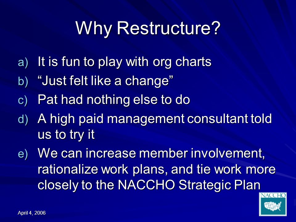 April 4, 2006 Why Restructure.