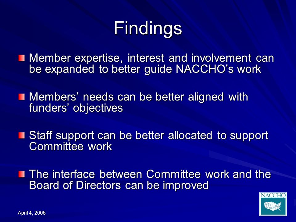 April 4, 2006 Findings Member expertise, interest and involvement can be expanded to better guide NACCHOs work Members needs can be better aligned with funders objectives Staff support can be better allocated to support Committee work The interface between Committee work and the Board of Directors can be improved