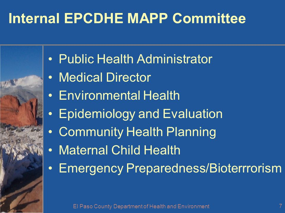 El Paso County Department of Health and Environment 18 Insights & Lessons Need a champion with the ability to execute the plan.