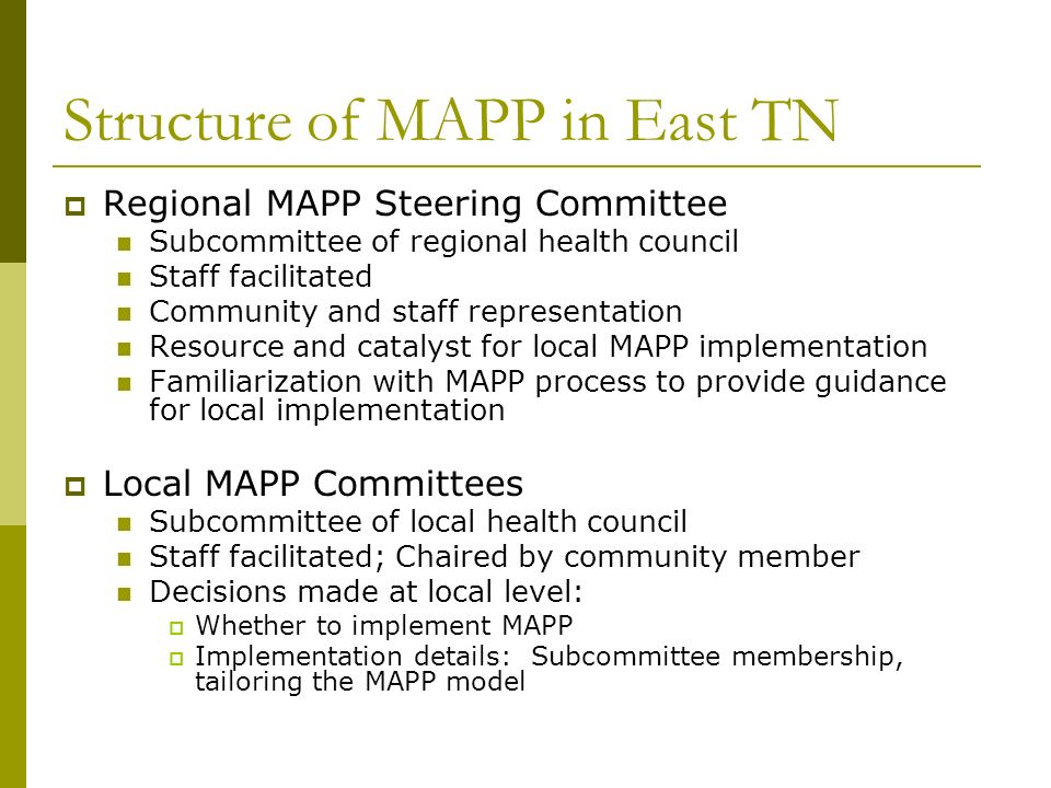 Structure of MAPP in East TN Regional MAPP Steering Committee Subcommittee of regional health council Staff facilitated Community and staff representation Resource and catalyst for local MAPP implementation Familiarization with MAPP process to provide guidance for local implementation Local MAPP Committees Subcommittee of local health council Staff facilitated; Chaired by community member Decisions made at local level: Whether to implement MAPP Implementation details: Subcommittee membership, tailoring the MAPP model