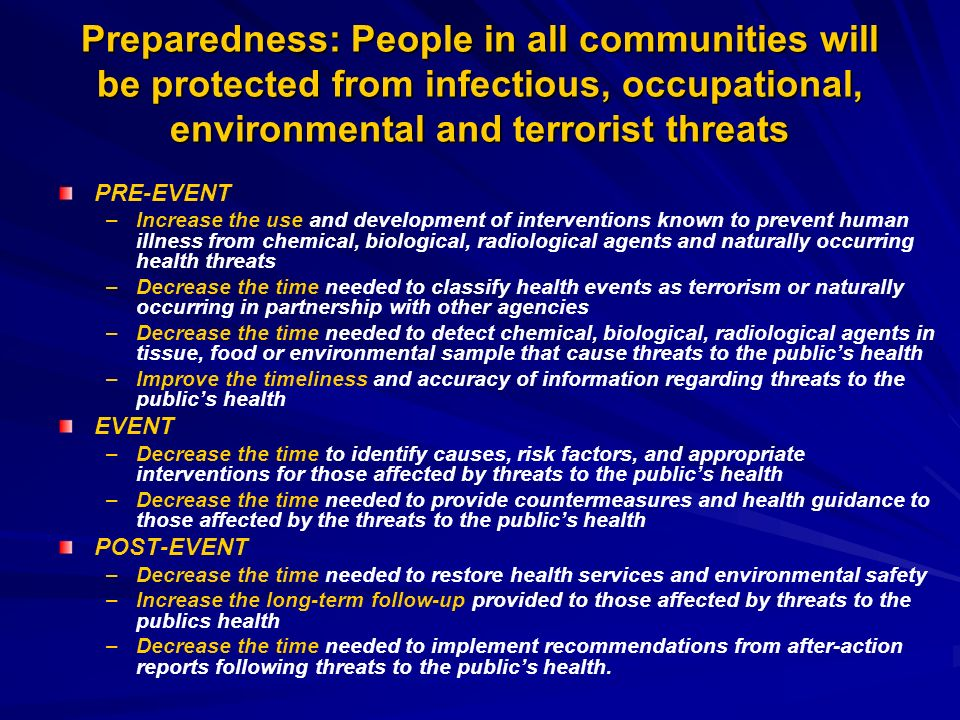 Preparedness: People in all communities will be protected from infectious, occupational, environmental and terrorist threats PRE-EVENT – –Increase the use and development of interventions known to prevent human illness from chemical, biological, radiological agents and naturally occurring health threats – –Decrease the time needed to classify health events as terrorism or naturally occurring in partnership with other agencies – –Decrease the time needed to detect chemical, biological, radiological agents in tissue, food or environmental sample that cause threats to the publics health – –Improve the timeliness and accuracy of information regarding threats to the publics health EVENT – –Decrease the time to identify causes, risk factors, and appropriate interventions for those affected by threats to the publics health – –Decrease the time needed to provide countermeasures and health guidance to those affected by the threats to the publics health POST-EVENT – –Decrease the time needed to restore health services and environmental safety – –Increase the long-term follow-up provided to those affected by threats to the publics health – –Decrease the time needed to implement recommendations from after-action reports following threats to the publics health.
