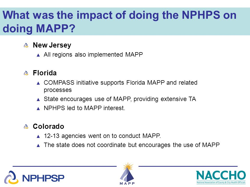What was the impact of doing the NPHPS on doing MAPP? New Jersey All regions also implemented MAPP Florida COMPASS initiative supports Florida MAPP an