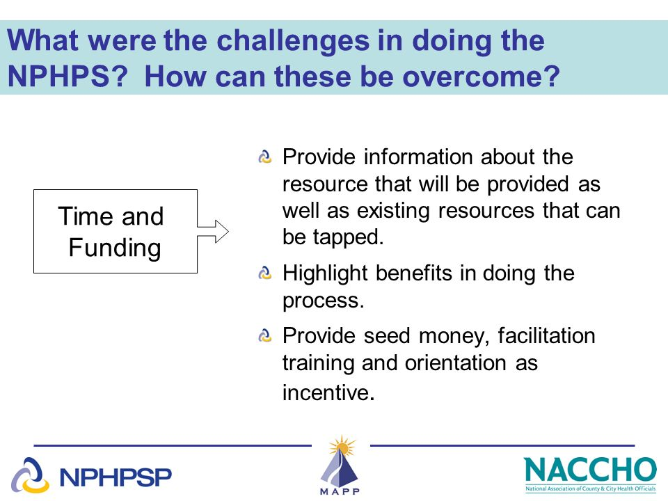 What were the challenges in doing the NPHPS? How can these be overcome? Provide information about the resource that will be provided as well as existi