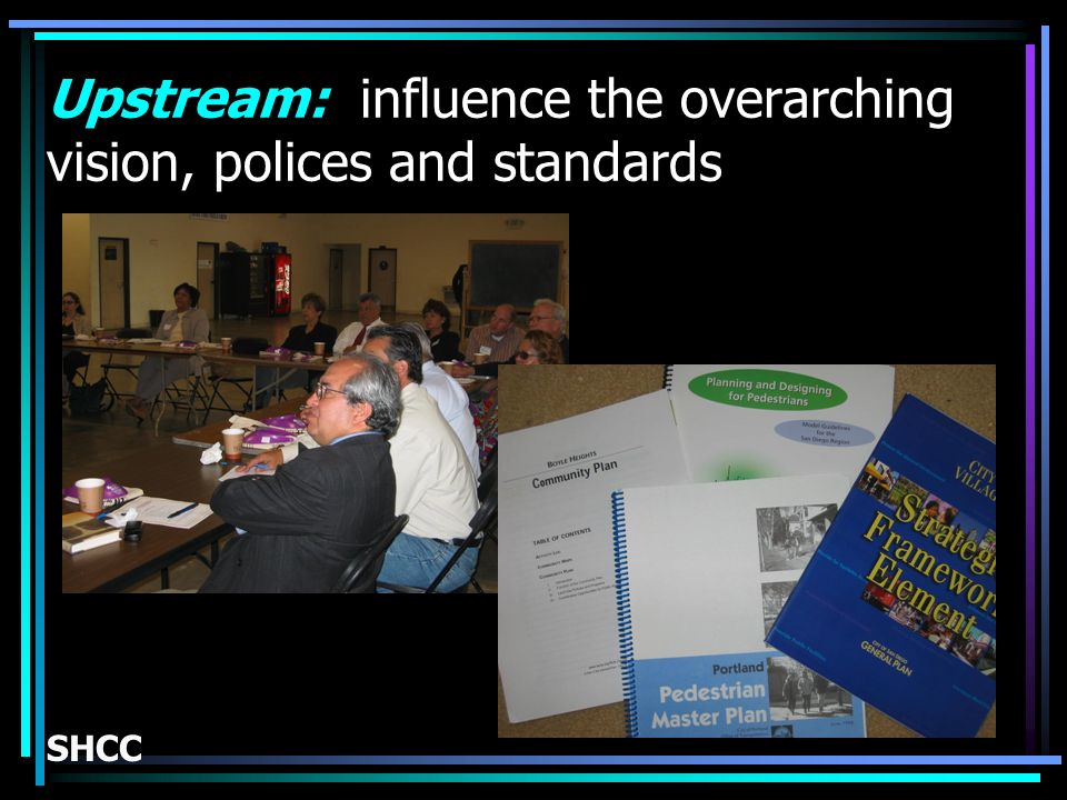 Upstream: influence the overarching vision, polices and standards SHCC
