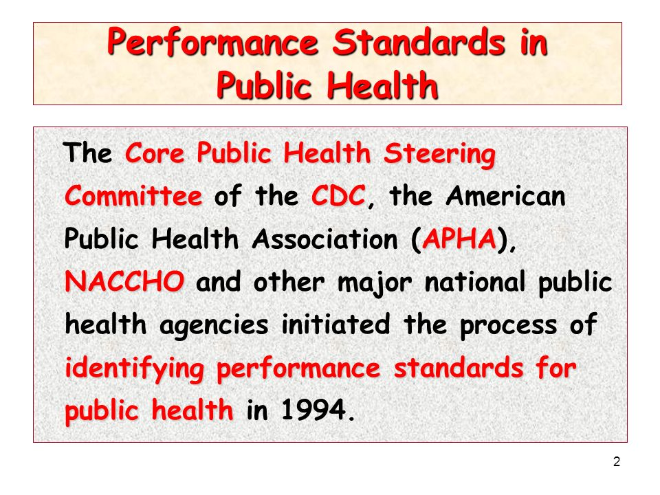 2 Performance Standards in Public Health Core Public Health Steering CommitteeCDC APHA NACCHO identifying performance standards for public health The