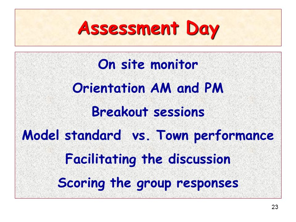 23 Assessment Day On site monitor Orientation AM and PM Breakout sessions Model standard vs. Town performance Facilitating the discussion Scoring the