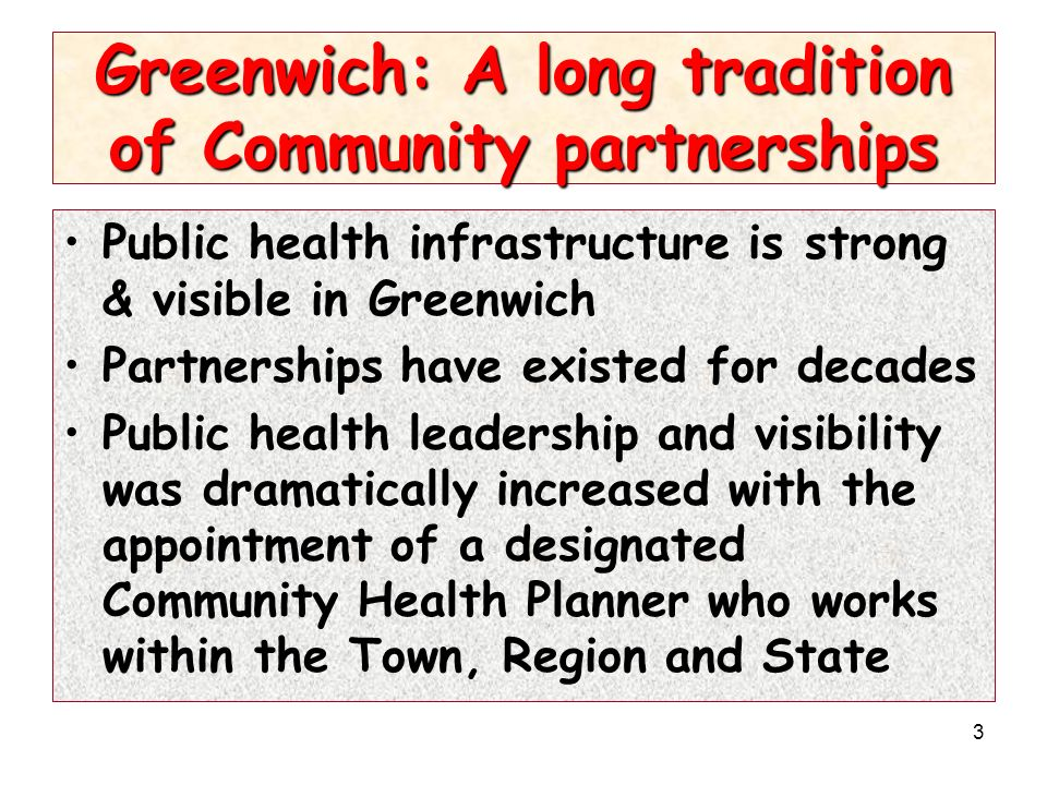 3 Greenwich: A long tradition of Community partnerships Public health infrastructure is strong & visible in Greenwich Partnerships have existed for de